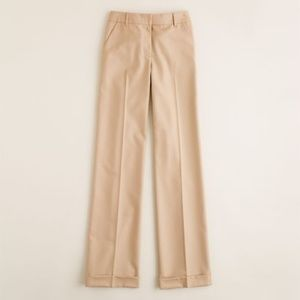 J. Crew Hutton High Rise Wool Trouser in Camel